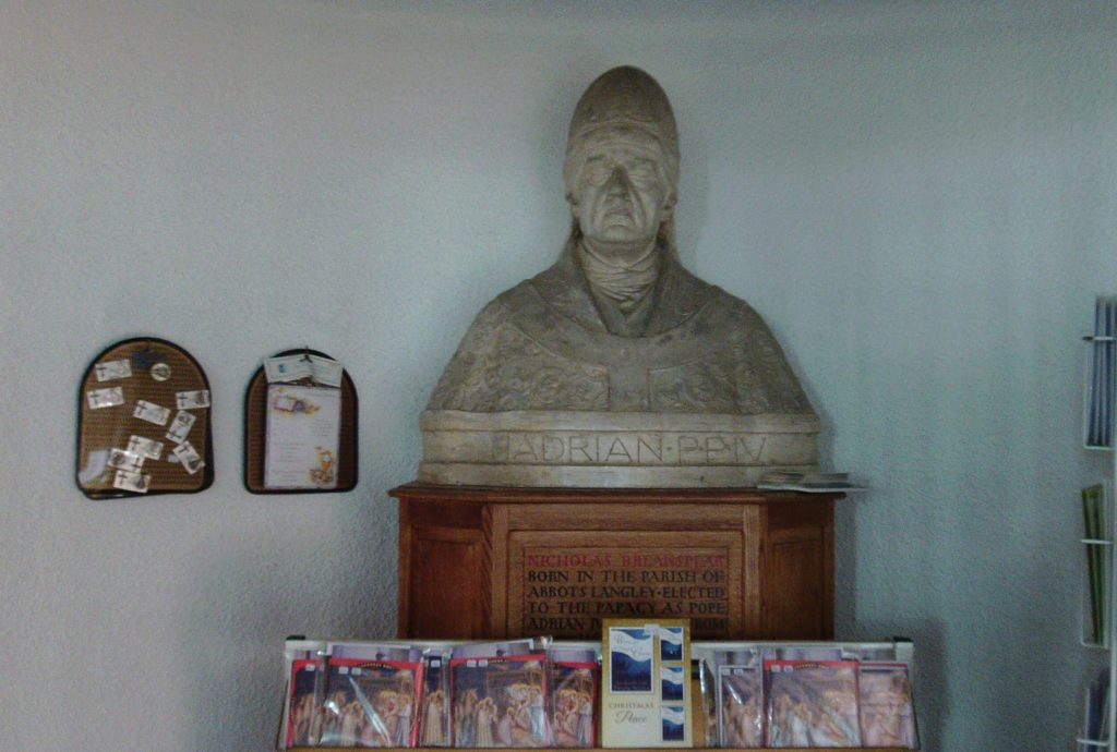 Bust of Pope Adrian IV in St. Saviour RC Church, Abbots Langley