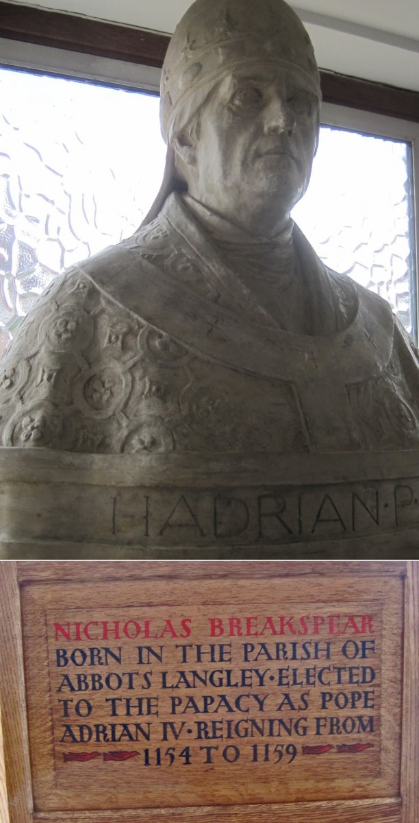 Bust of Pope Adrian IV with Plaque