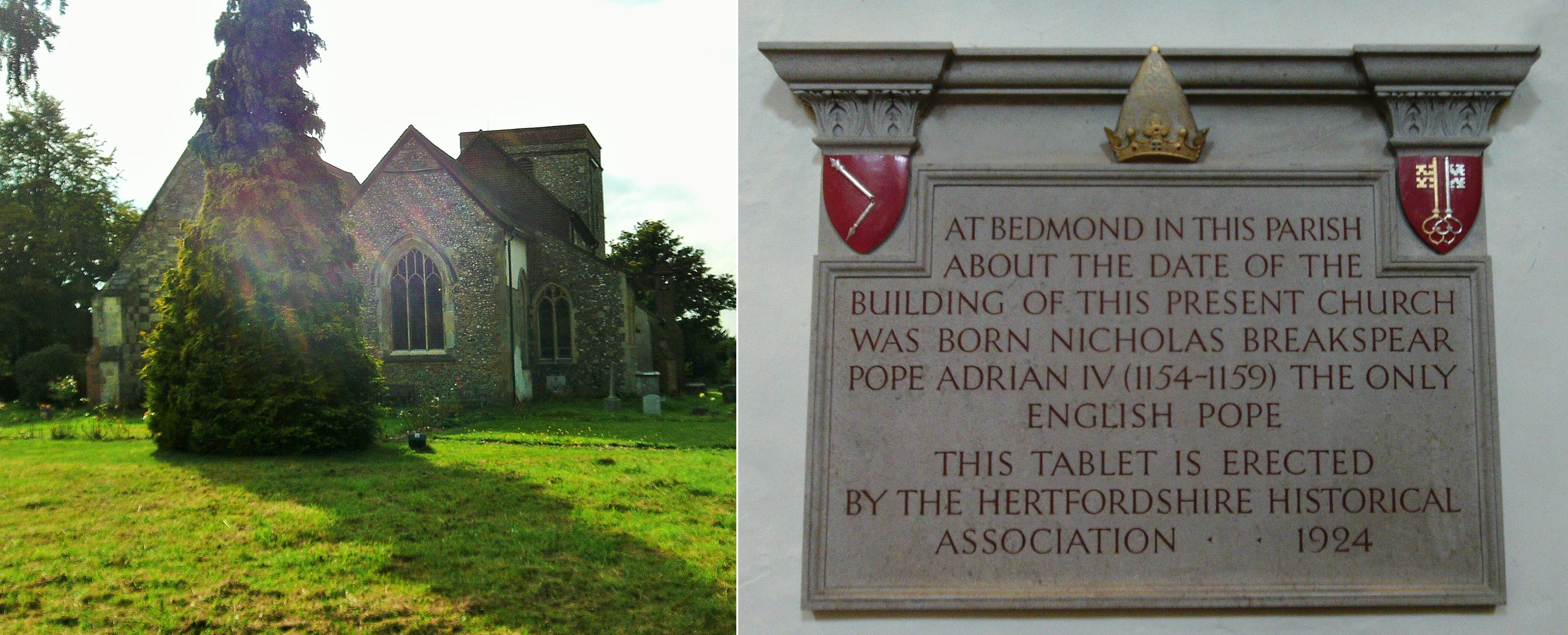 St. Lawrence Church, Abbots Langley, and plaque